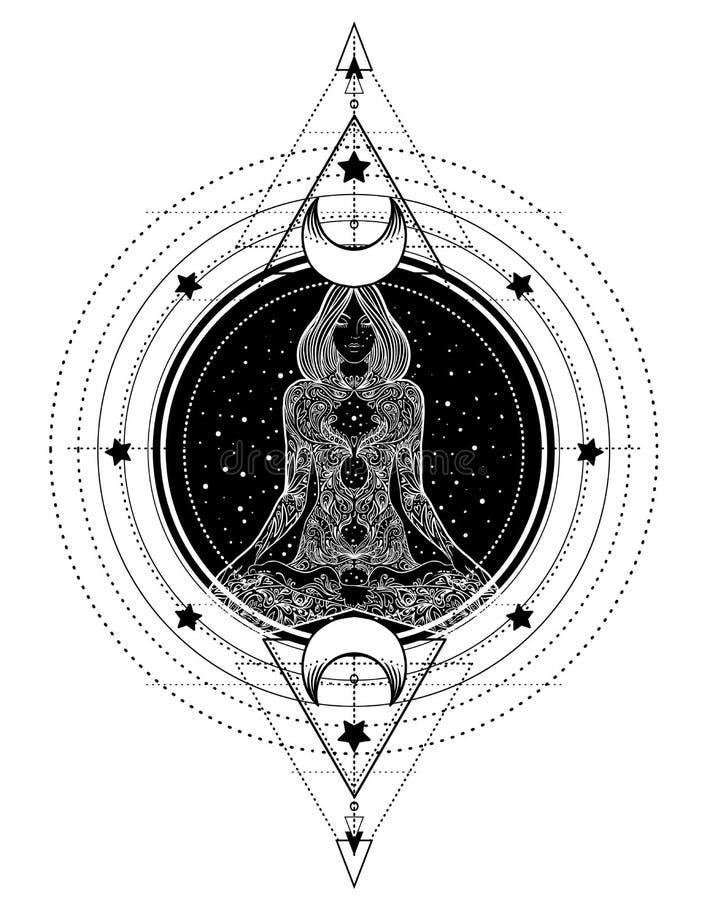 Силуэт женщины богато украшенный сидя в представлении лотоса и священном Geometr иллюстрация вектора