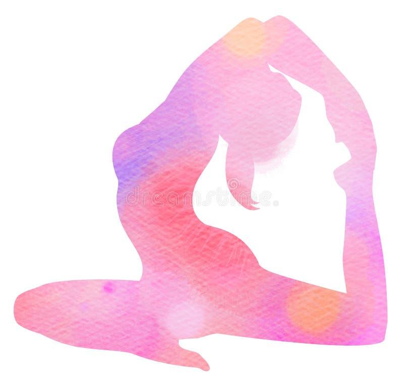 Силуэт женщины йоги акварели на белой предпосылке Цифров ar бесплатная иллюстрация