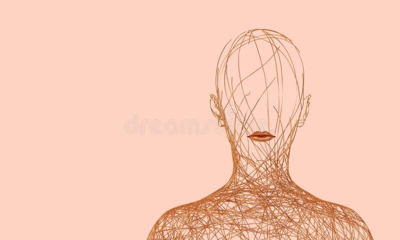 Силуэт женщины состоя из запутанных золотых проводов на розовой предпосылке иллюстрация штока