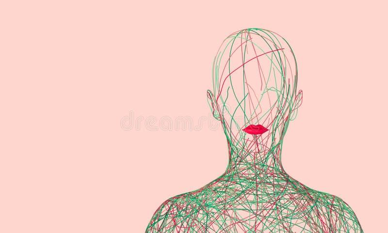 Силуэт женщины состоя из запутанных покрашенных проводов на розовой предпосылке бесплатная иллюстрация