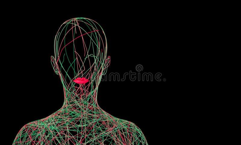 Силуэт женщины состоя из запутанных покрашенных проводов на черной предпосылке бесплатная иллюстрация