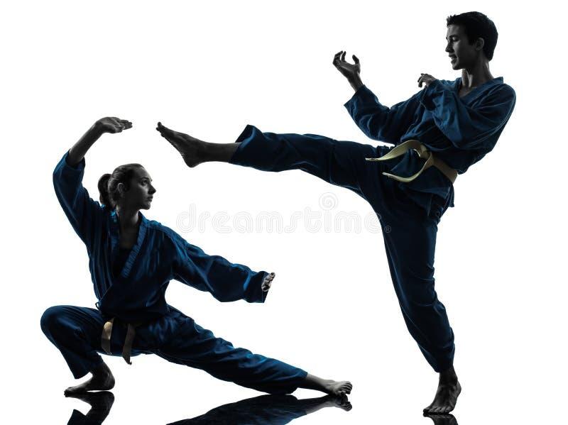 Силуэт женщины человека боевых искусств vietvodao карате стоковая фотография