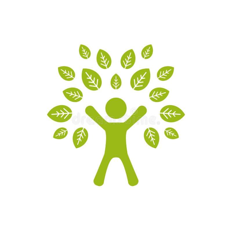 Силуэт зеленого человека с листьями Человеческое дерево r иллюстрация вектора