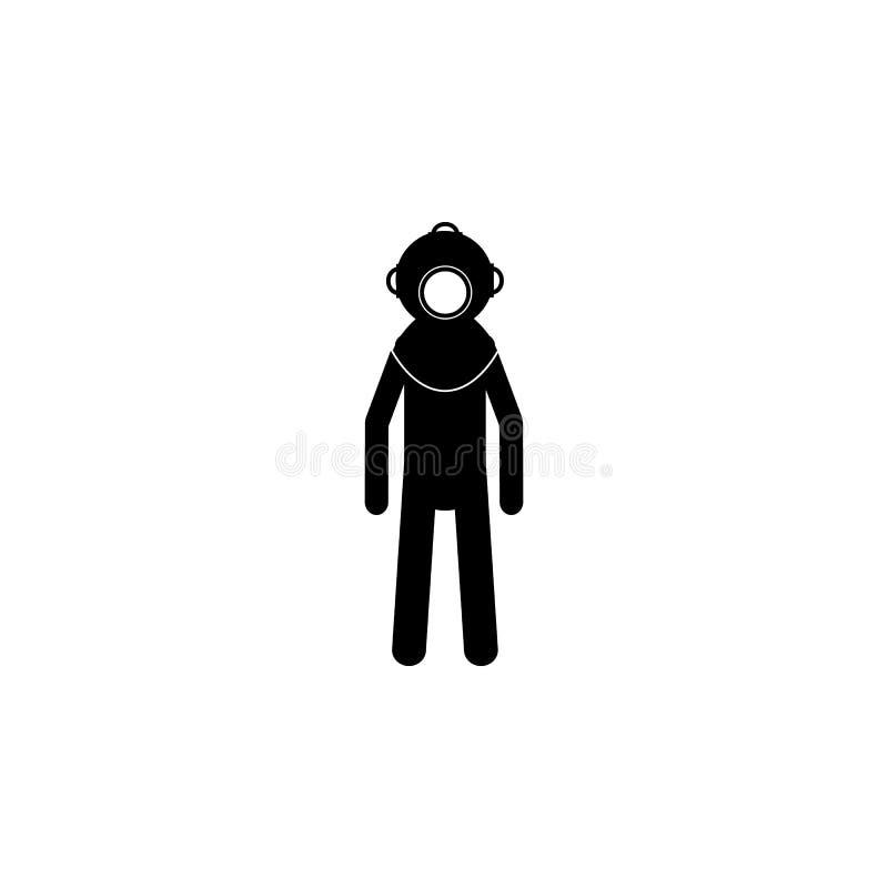Силуэт значка водолаза глубок-моря Значок элемента спецслужб Наградной качественный значок графического дизайна Изолированные зна иллюстрация вектора