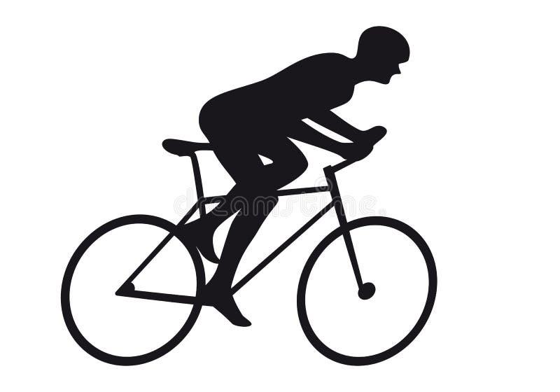 Силуэт значка гонки цикла велосипедиста велосипедиста дороги задействуя иллюстрация штока