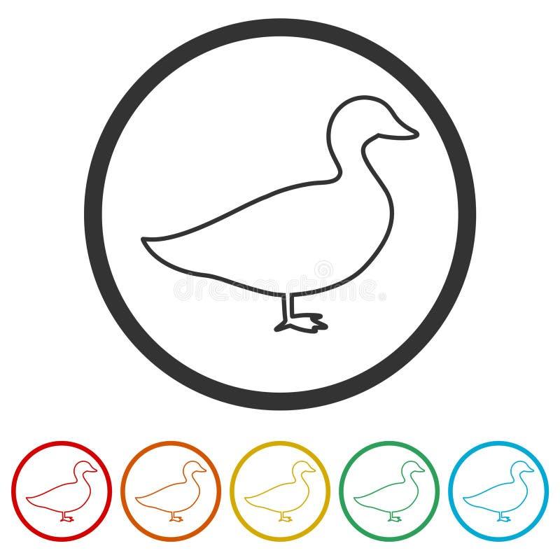 Силуэт значка гусыни или утки, 6 включенных цветов бесплатная иллюстрация