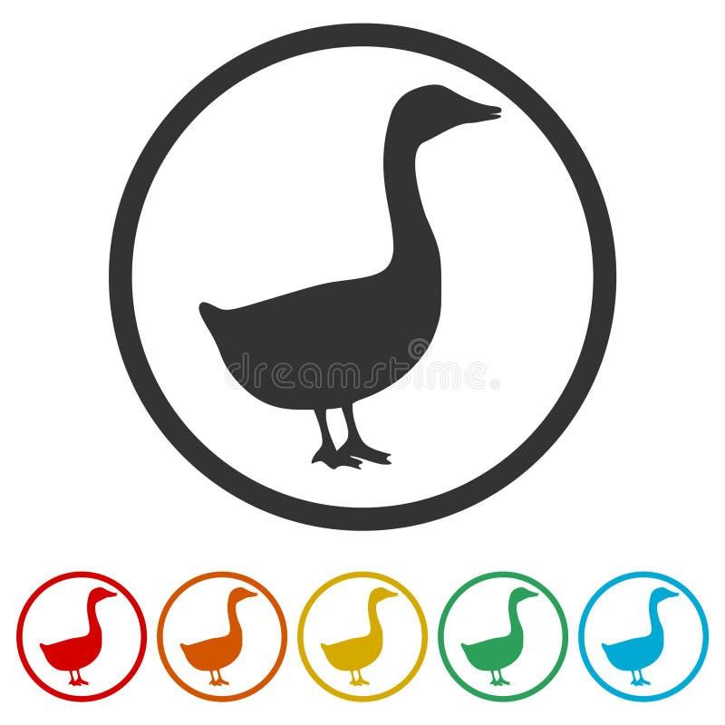 Силуэт значка гусыни или утки, 6 включенных цветов иллюстрация вектора