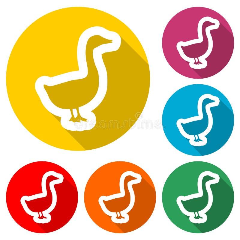 Силуэт значка гусыни или утки, значка цвета с длинной тенью иллюстрация штока