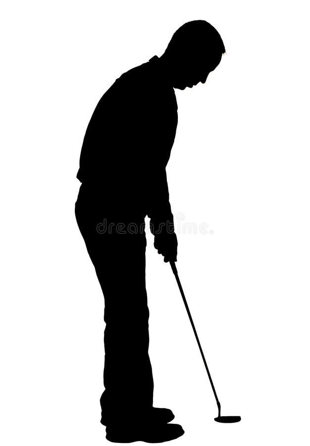 силуэт игрока в гольф стоковые фото