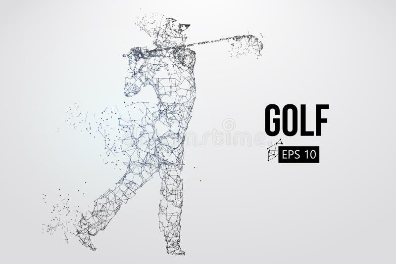 Силуэт игрока гольфа также вектор иллюстрации притяжки corel
