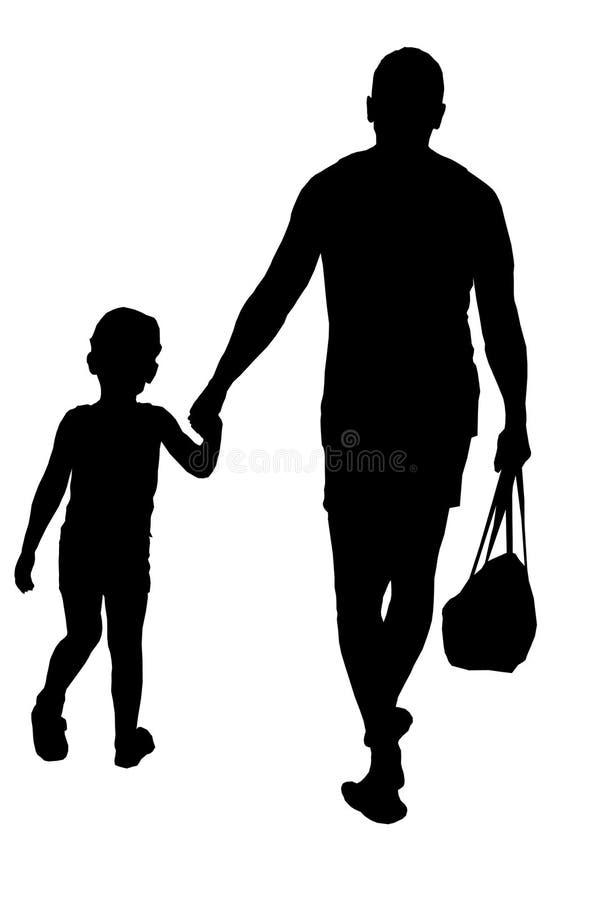 Силуэт идти отца и сына иллюстрация вектора