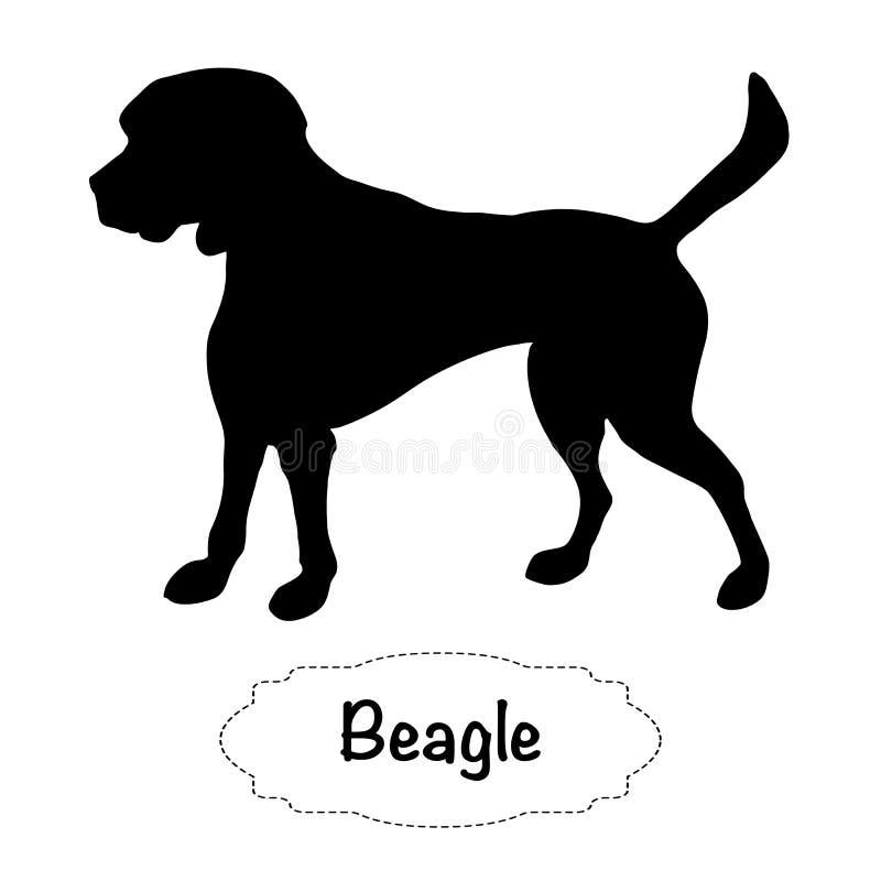 Силуэт изолированный вектором собаки бигля на белой предпосылке иллюстрация штока