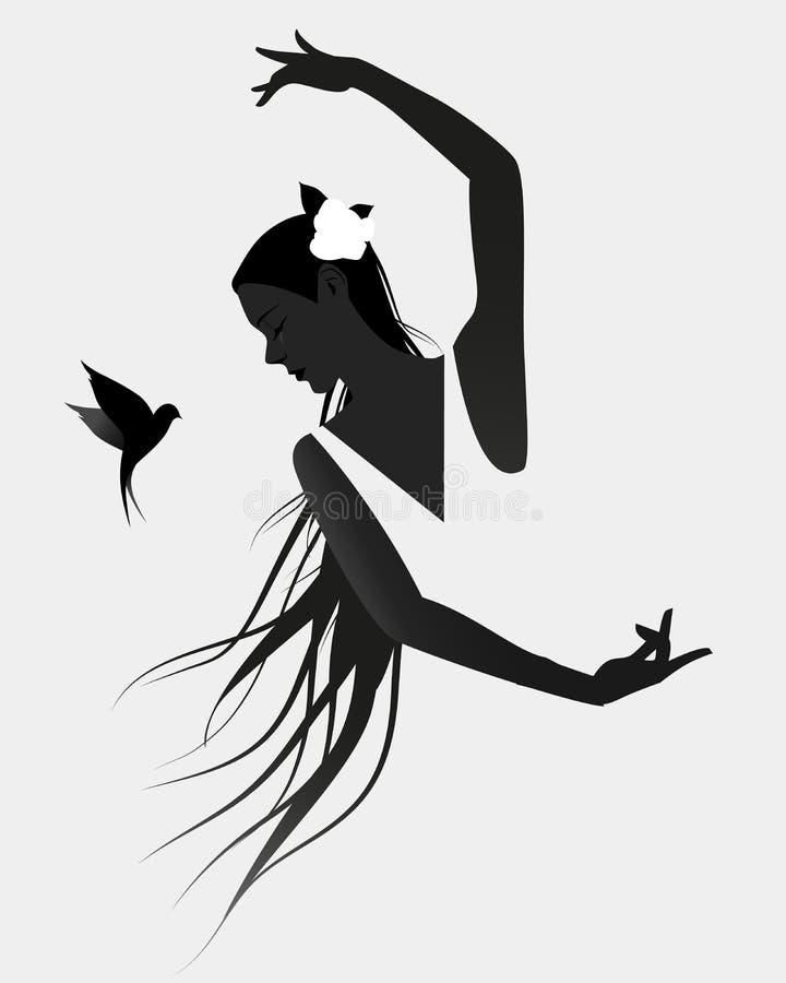 Силуэт испанского танцора фламенко нося цветок в ее волосах иллюстрация вектора