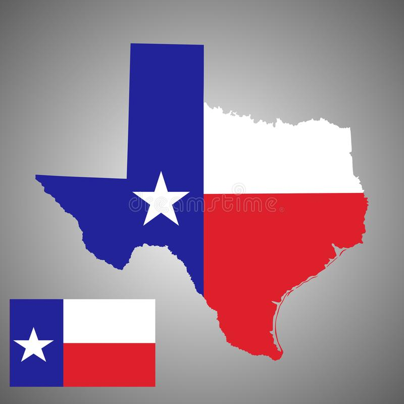 Силуэт карты вектора Техаса и вектор Техаса сигнализируют иллюстрация штока