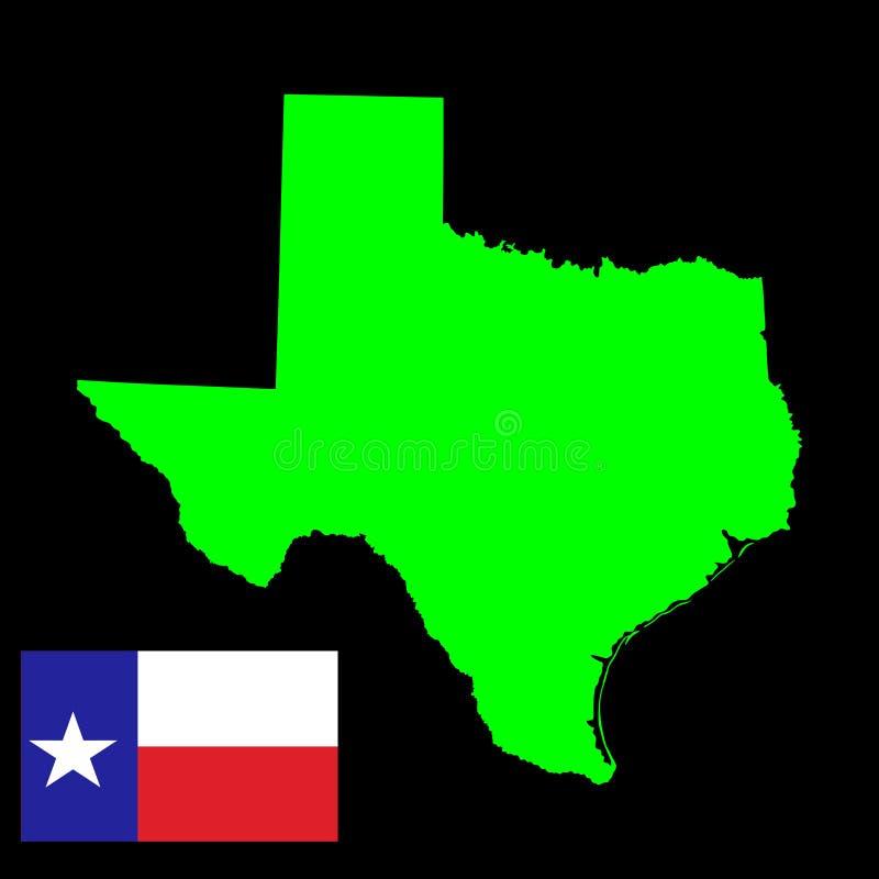 Силуэт карты вектора Техаса и флаг вектора иллюстрация вектора