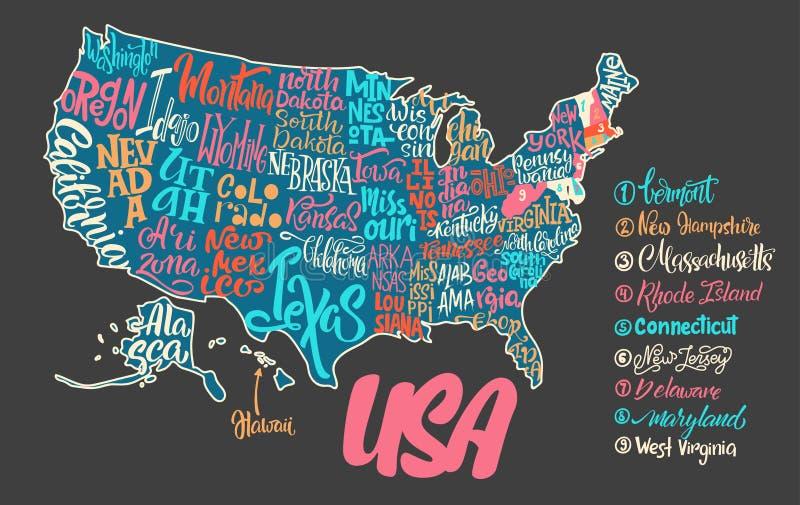 Силуэт карты США с рукописными именами положений - иллюстрация вектора