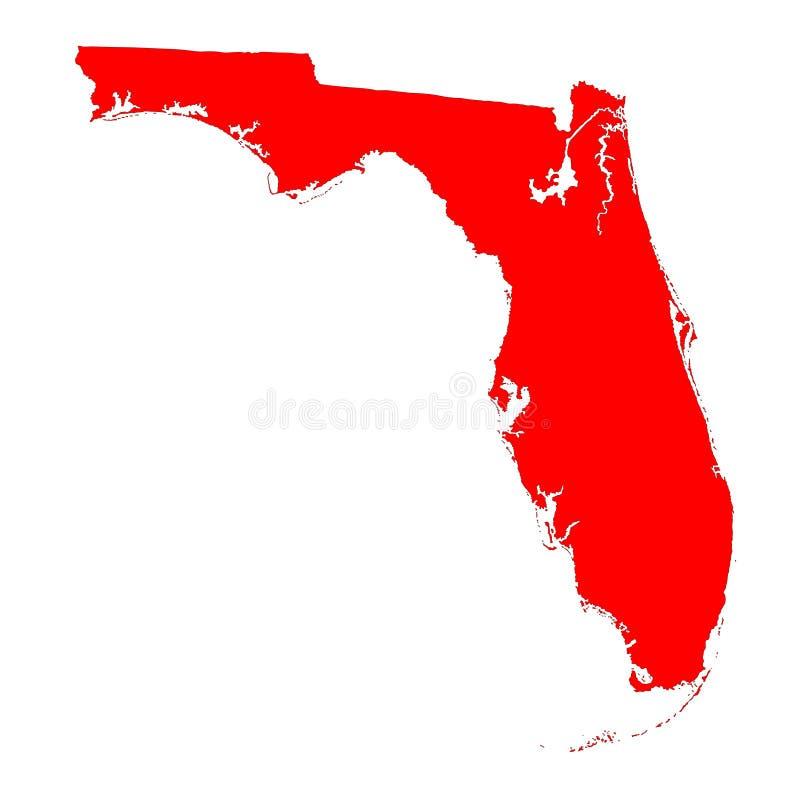 Силуэт карты Флориды красный бесплатная иллюстрация