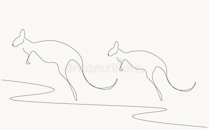 Силуэт кенгуру от вектора Австралии острова иллюстрация штока