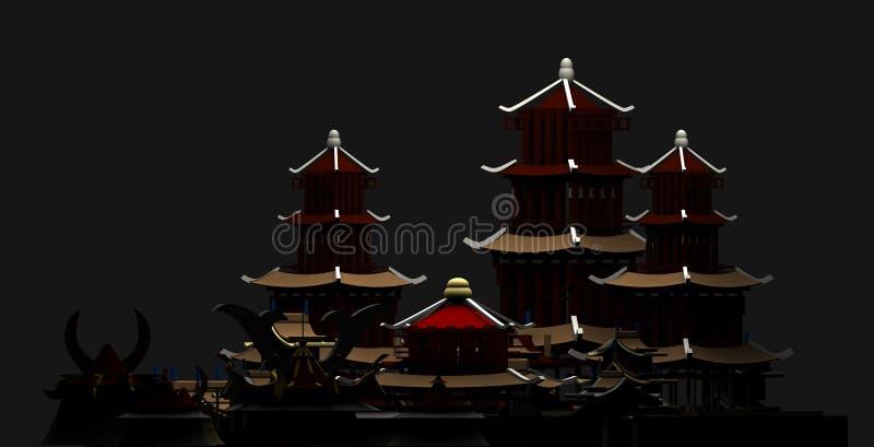 Силуэт, китайского перевода древнего города 3d пагоды зданий иллюстрация штока