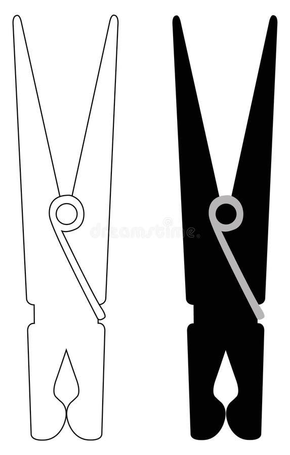 Силуэт колышка зажимки для белья или одежд бесплатная иллюстрация