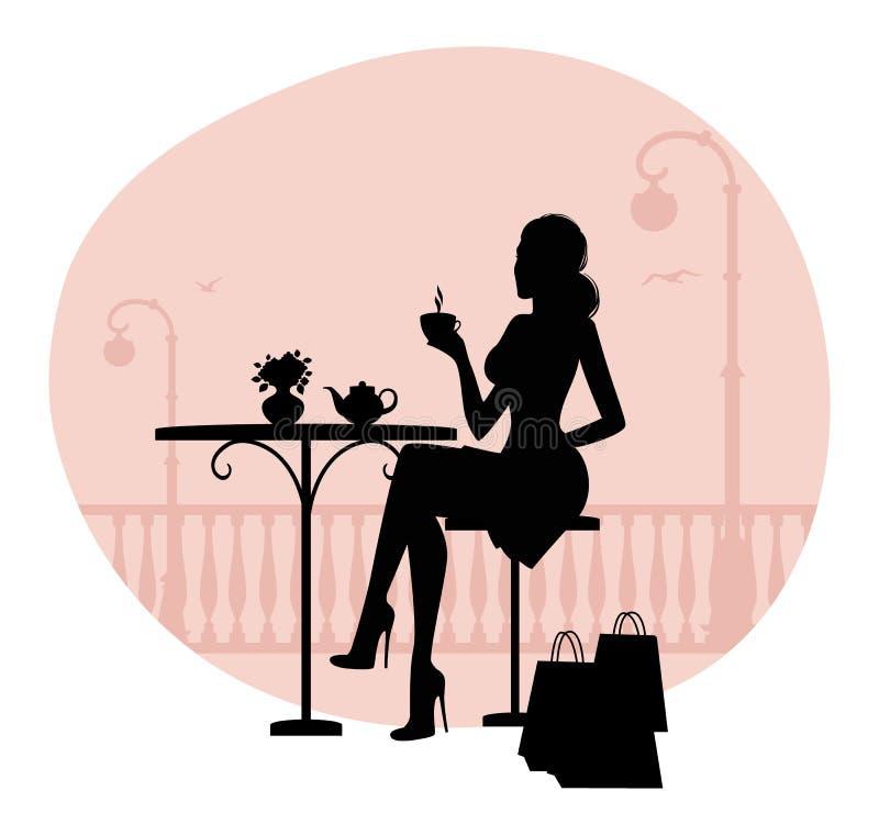 Силуэт красивейшей женщины в кафе иллюстрация вектора