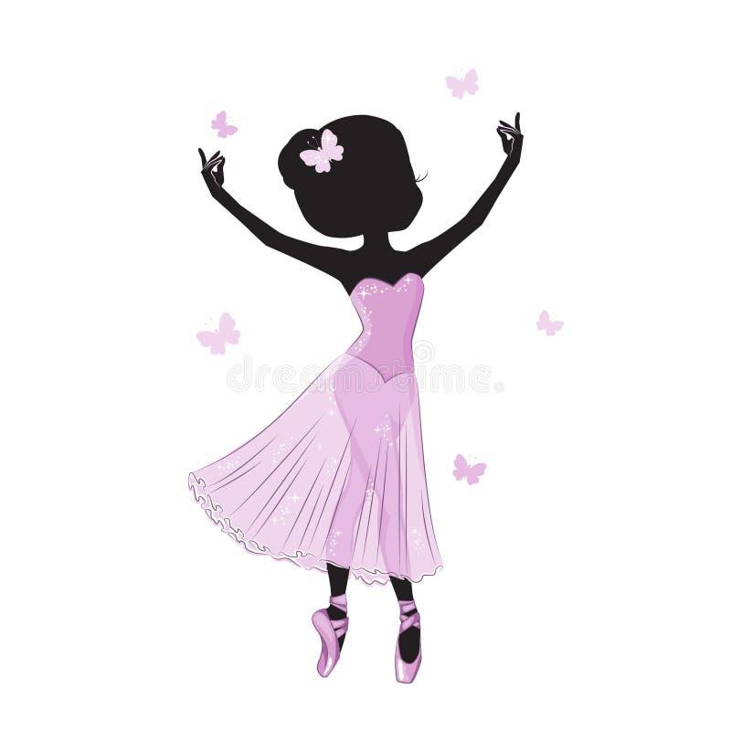 Силуэт красивой маленькой принцессы иллюстрация штока