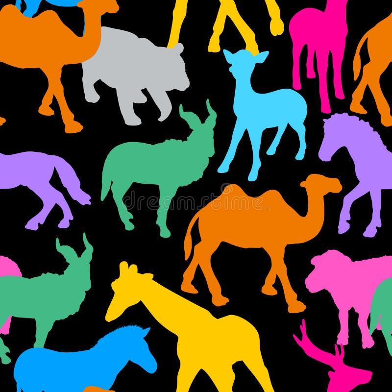 Силуэт красочных диких животных бесплатная иллюстрация