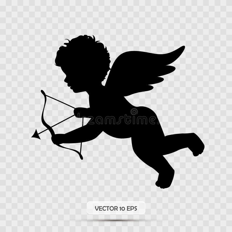 Силуэт купидона Стрелка удерживания купидона Изолировано на белизне вектор иллюстрация штока