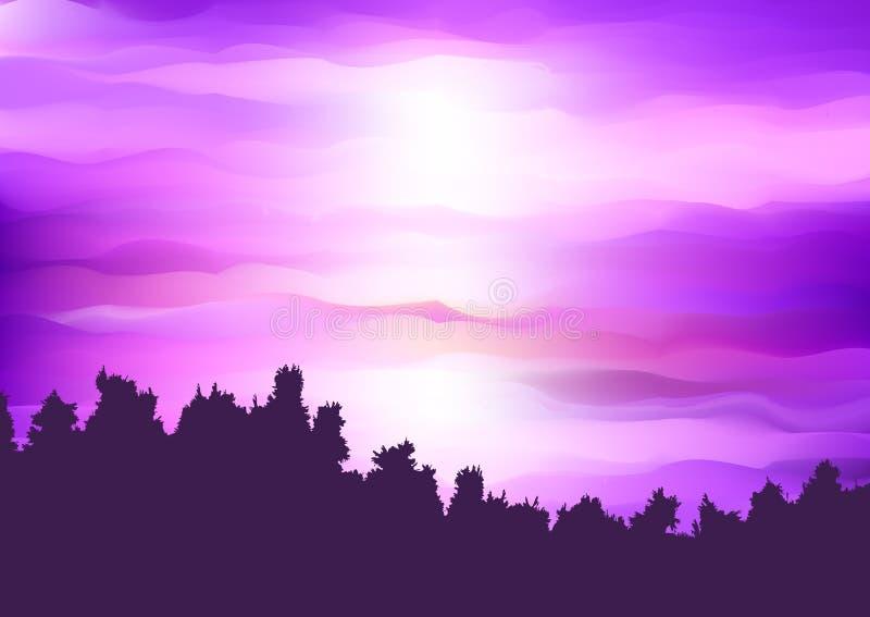 Силуэт ландшафта дерева против абстрактного пурпурного неба захода солнца иллюстрация вектора