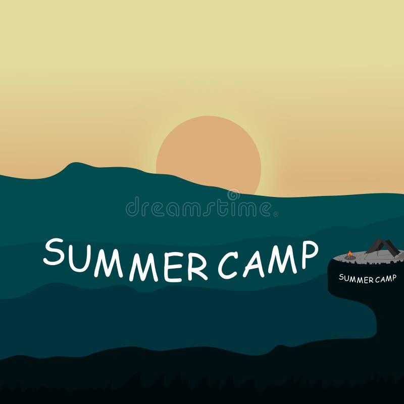 Силуэт ландшафта лета располагаясь лагерем в дизайне горы на предпосылке вектора иллюстрация вектора