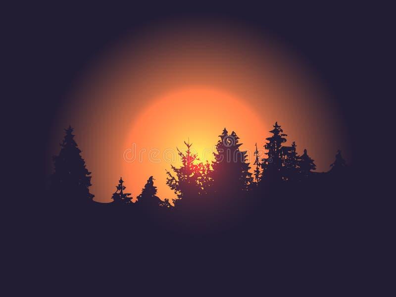 Силуэт леса против захода солнца или восхода солнца предпосылки солнца вектора Ландшафт деревьев иллюстрация штока