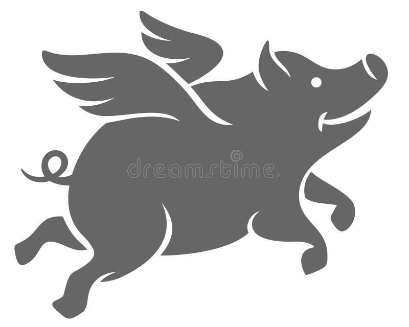 Силуэт летая свиньи стоковое фото