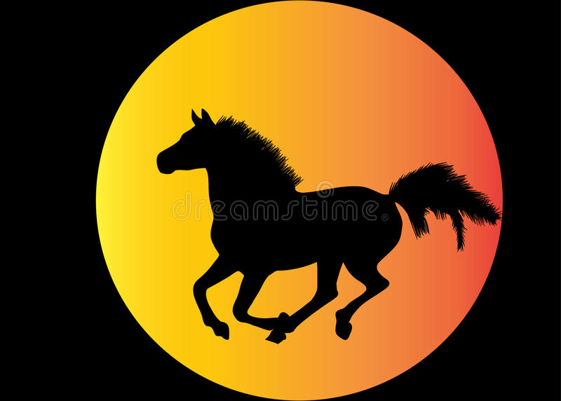 силуэт лошади идущий иллюстрация вектора