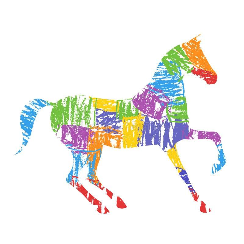 Силуэт лошади с ходами grunge яркой красочной руки рисуя художественными иллюстрация штока