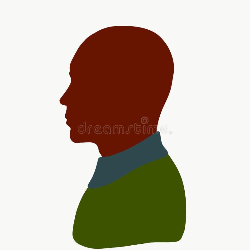 Силуэт лысого молодого человека в зеленом свитере, профиль иллюстрация вектора