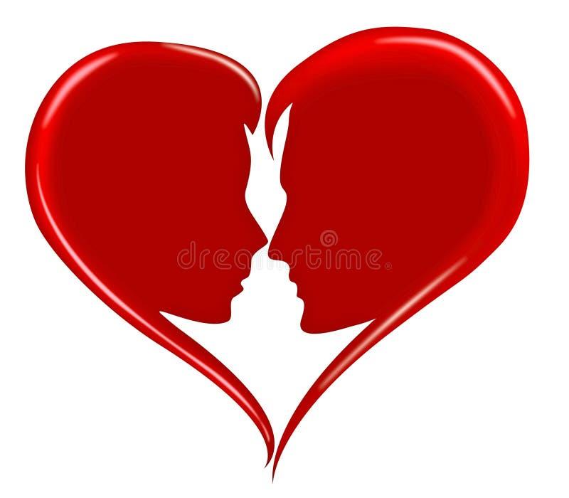силуэт любовников влюбленности сердца красный романский иллюстрация вектора