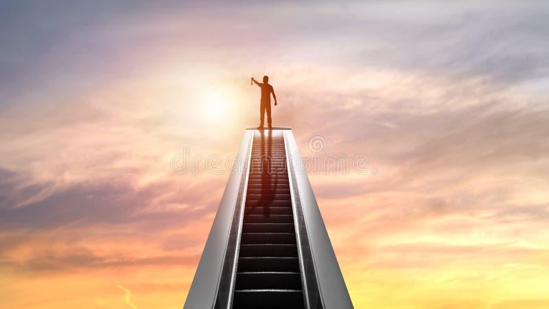 Силуэт людей и золотого медали na górze эскалатора с заходом солнца, концепцией как shampion или победителем в деле стоковые фото