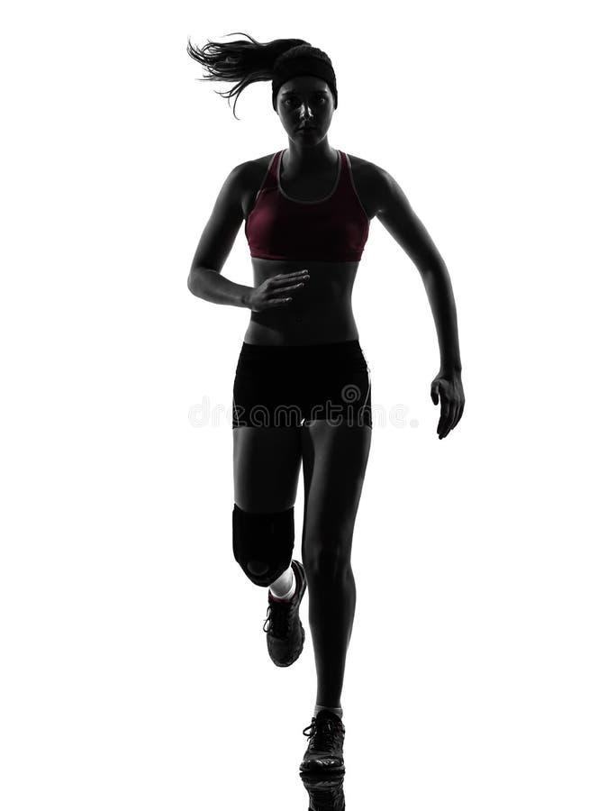 Силуэт марафона бегунка женщины идущий стоковые фотографии rf