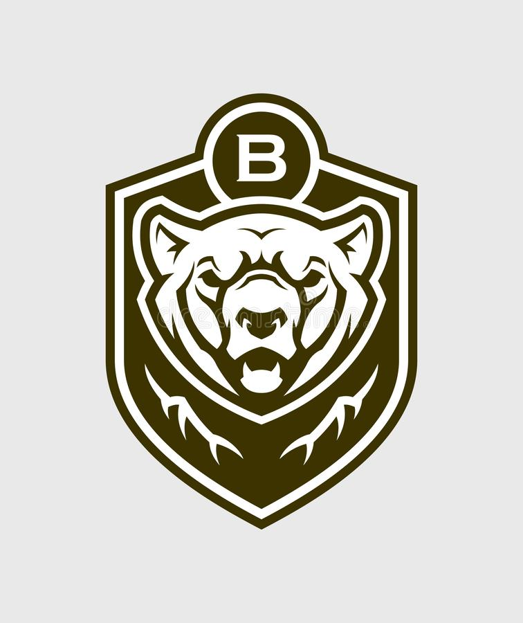 Силуэт медведя главный Эмблема вектора гризли стоковые фото