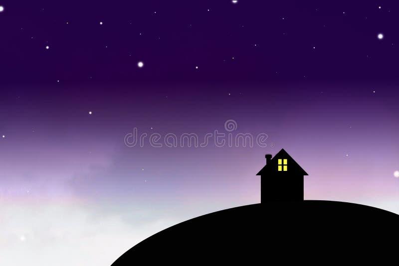 Силуэт меньший дом в мире ночи стоковое изображение rf