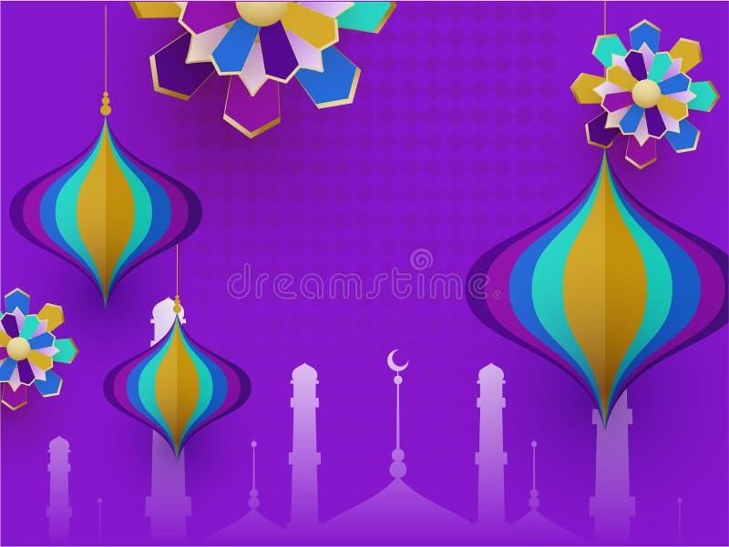 Силуэт мечети с бумажными отрезанными фонариками и исламским бумажным искусством украшенной на пурпурной предпосылке для исламско иллюстрация вектора