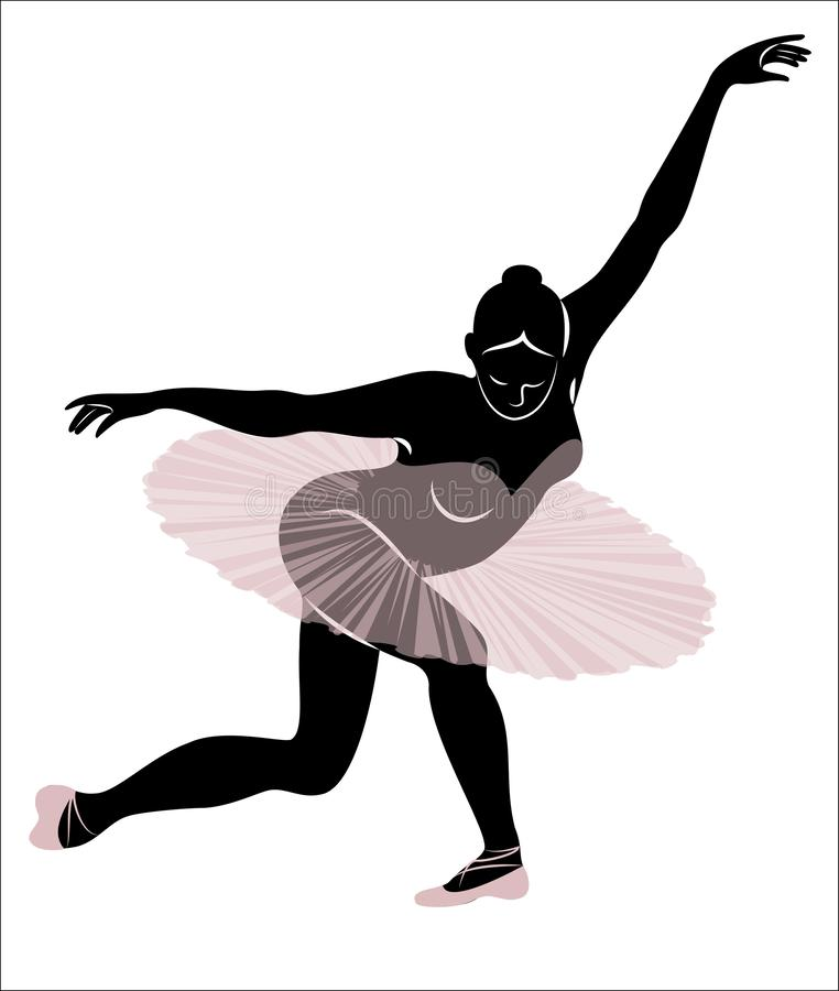Силуэт милой дамы, она танцует балет r r r бесплатная иллюстрация