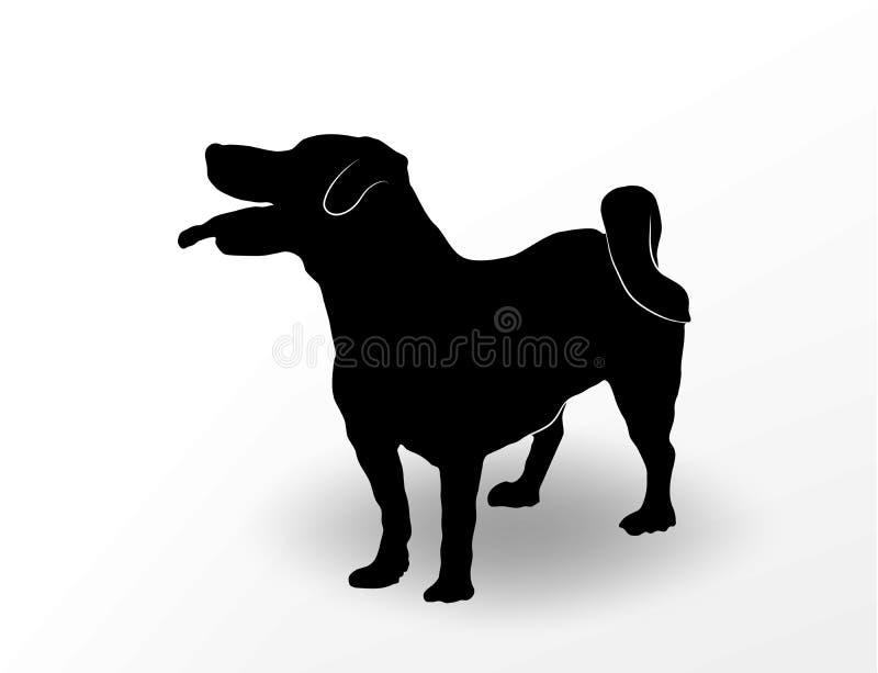 Силуэт милой собаки поднимает положение домкратом терьера Рассела с открытым ртом и языком вися вне и смотря вверх любознательно иллюстрация вектора