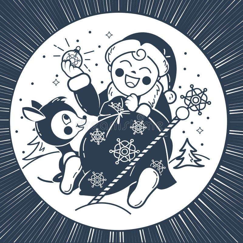Силуэт младенца Санта Клауса иллюстрация штока