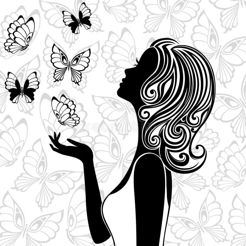 Картинки силуэт девушки из бабочек