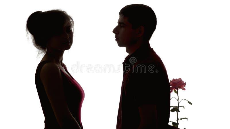 Силуэт молодой пары в любов на белой изолированной предпосылке, человеке принес цветок к обиденной девушке для того чтобы сделать стоковое фото rf