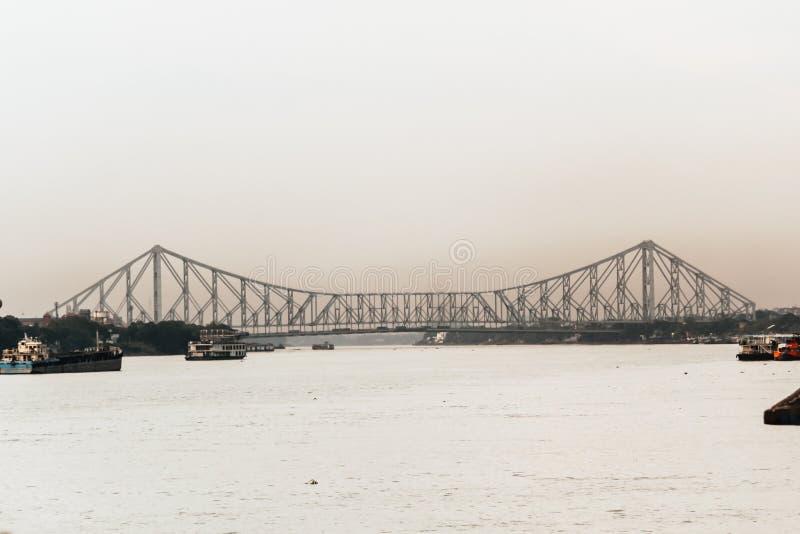 Силуэт моста Howrah стоковые фотографии rf