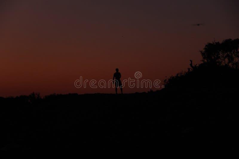 Силуэт мужчины на закате на пляже стоковые изображения