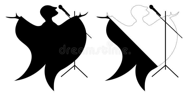 Силуэт мультфильма певицы с микрофоном как птица иллюстрация штока