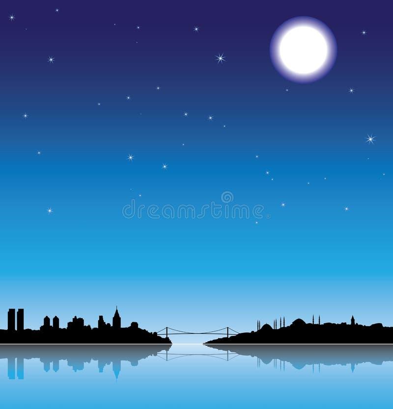 силуэт ночи istanbul иллюстрация вектора